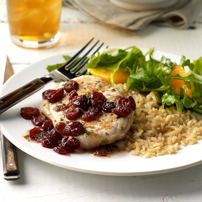Pork Chops with Cranberry Pan Sauce