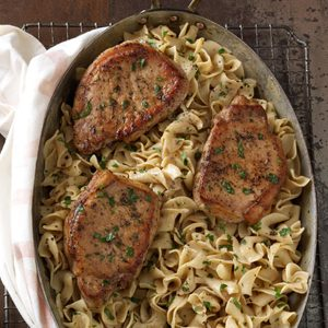 Pork Chops with Creamy Mustard Noodles