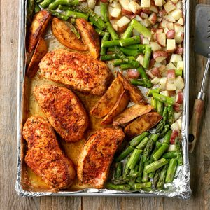 Pork and Asparagus Sheet-Pan Dinner