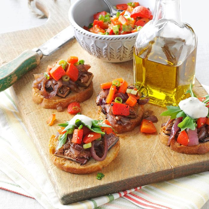 Portobello Bruschetta with Rosemary Aioli