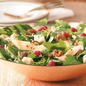 Raspberry Pear Salad with Glazed Walnuts