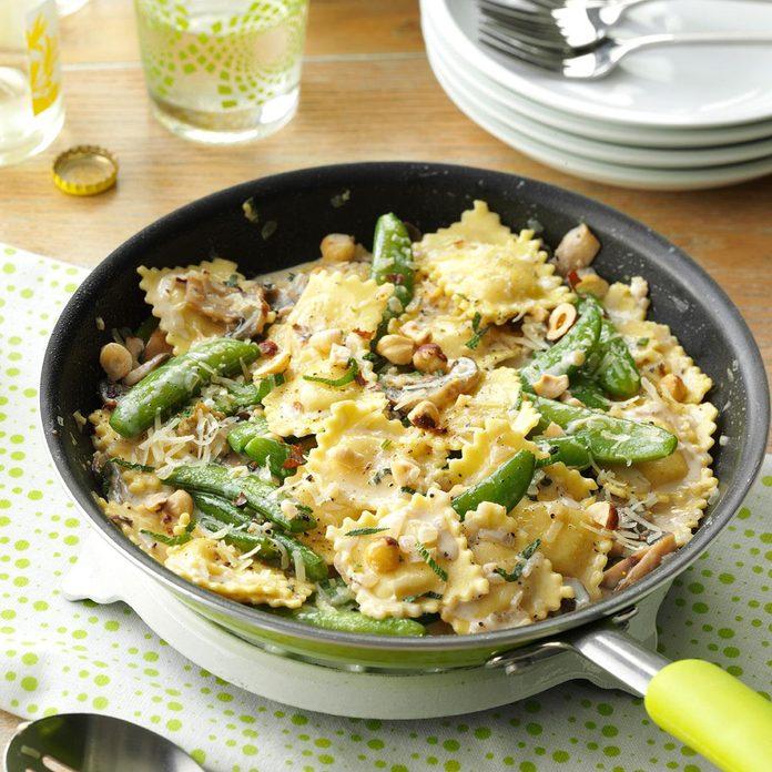 Monday: Ravioli with Snap Peas & Mushrooms