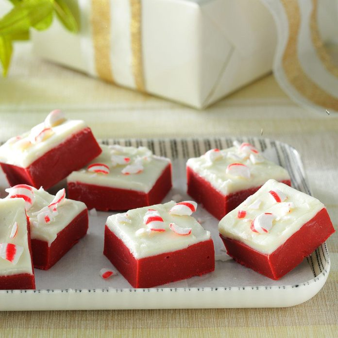 Red Velvet Candy Cane Fudge