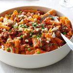 Pressure Cooker Rigatoni with Sausage & Peas