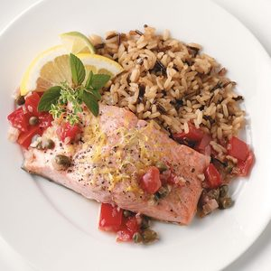 Salmon with Tomato Shallot Sauce