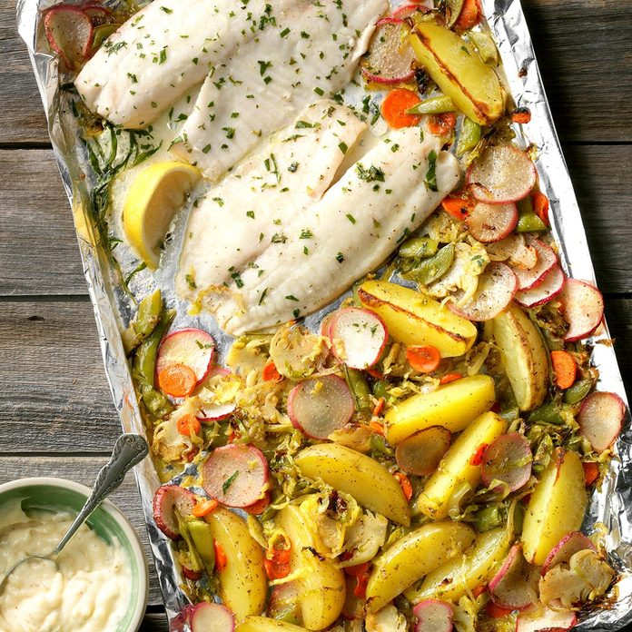 Sheet-Pan Tilapia and Vegetable Medley