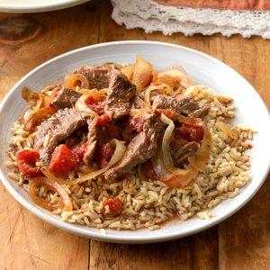 Sirloin Strips over Rice