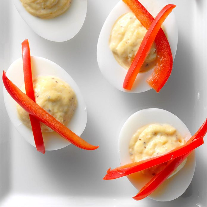 Slim Crab Cake Deviled Eggs