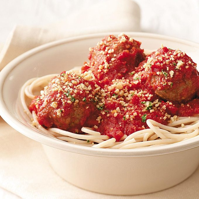 Spaghetti and Meatballs with Garlic Crumbs