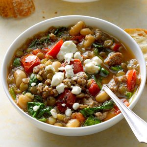 Spinach and Sausage Lentil Soup