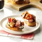 Steak & Blue Cheese Bruschetta with Onion & Roasted Tomato Jam