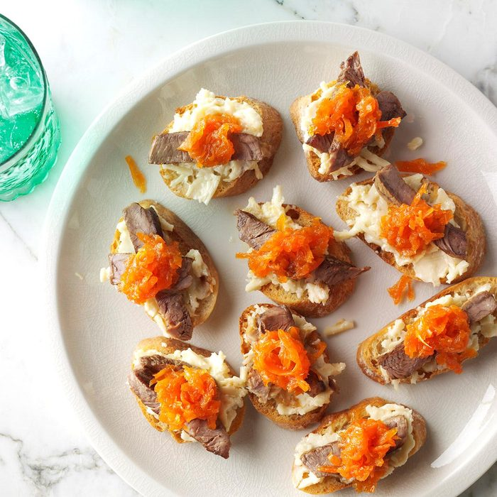 Steak Crostini with Carrot-Horseradish Marmalade
