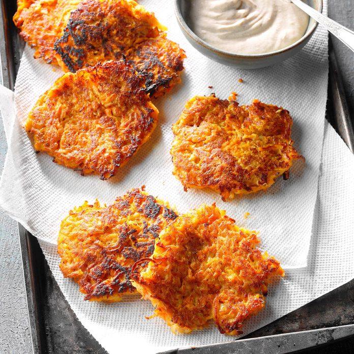 Sweet Potato Pancakes with Cinnamon Cream