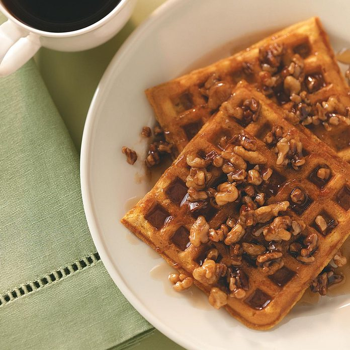 Sweet Potato Waffles with Nut Topping
