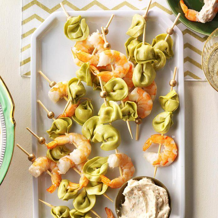 Tortellini & Shrimp Skewers with Sun-Dried Tomato Sauce