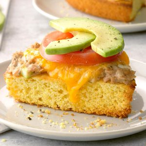 Tuna Melt on Cornbread