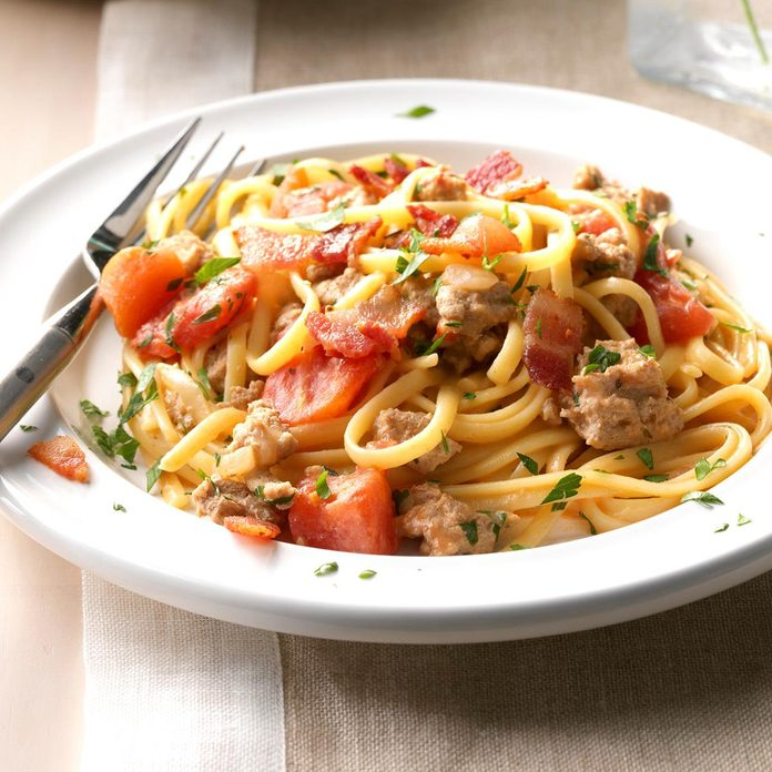 Turkey Linguine with Tomato Cream Sauce