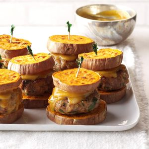 "Turkey Sliders with Sweet Potato ""Buns"""