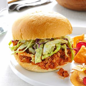 Turkey Sloppy Joes with Avocado Slaw
