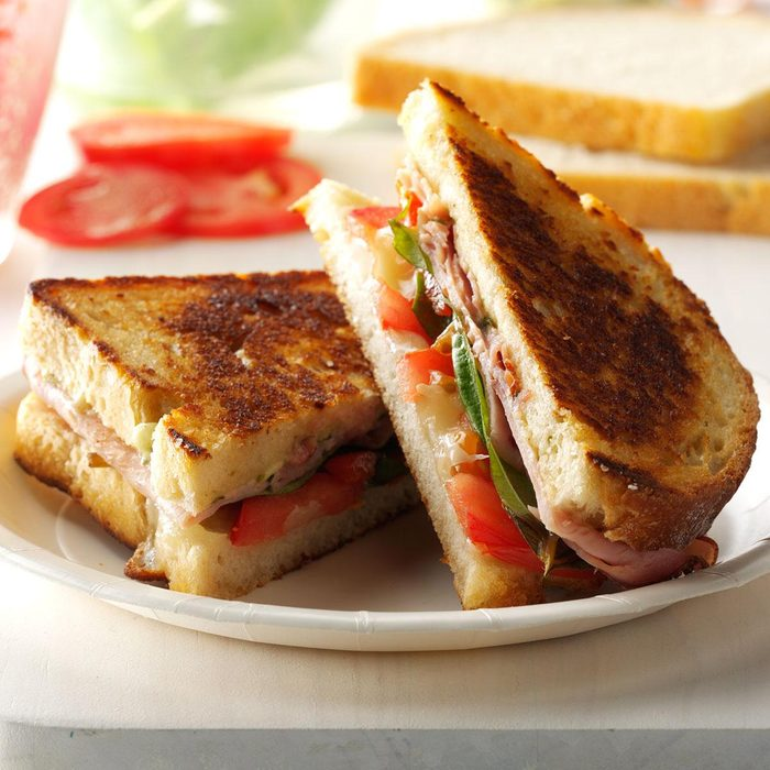 Grilled Pesto, Ham and Provolone Sandwiches