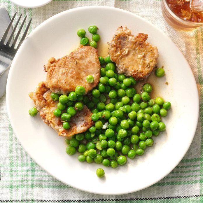 Rosemary Pork Medallions with Peas