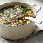 Spicy Sausage Soup with Tortellini