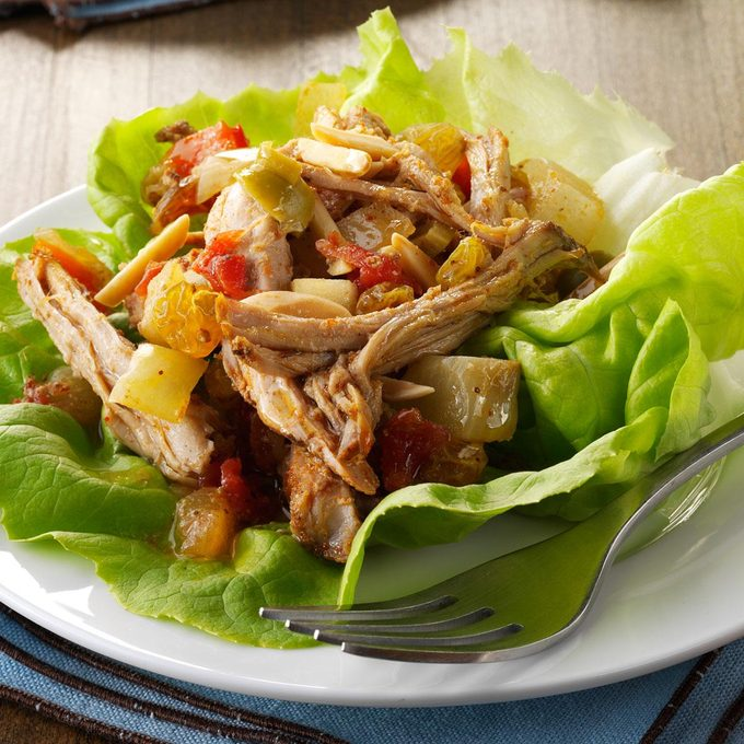 Pork Picadillo Lettuce Wraps