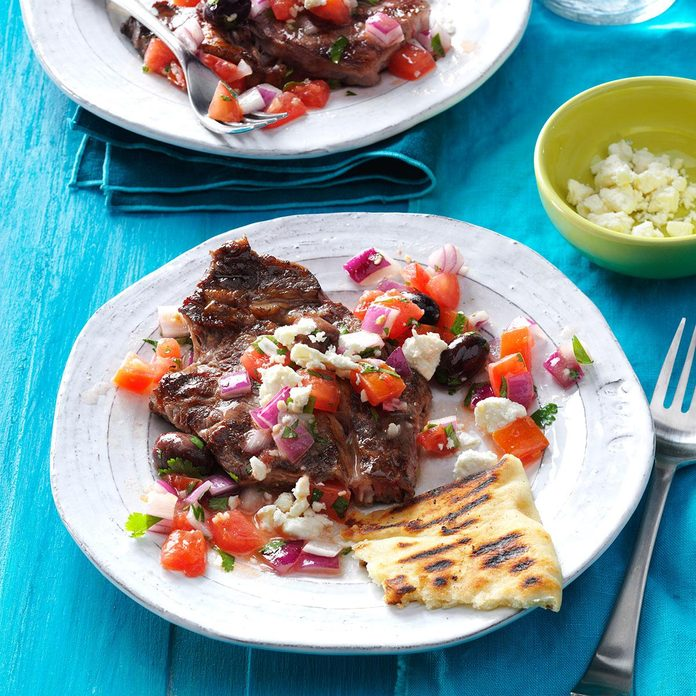 Grilled Steaks with Greek Relish