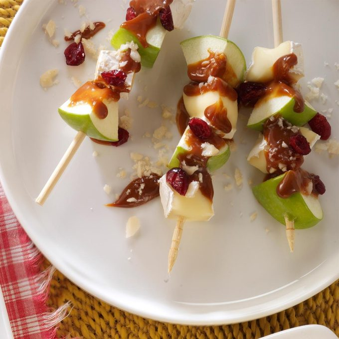 Caramel Apple and Brie Skewers