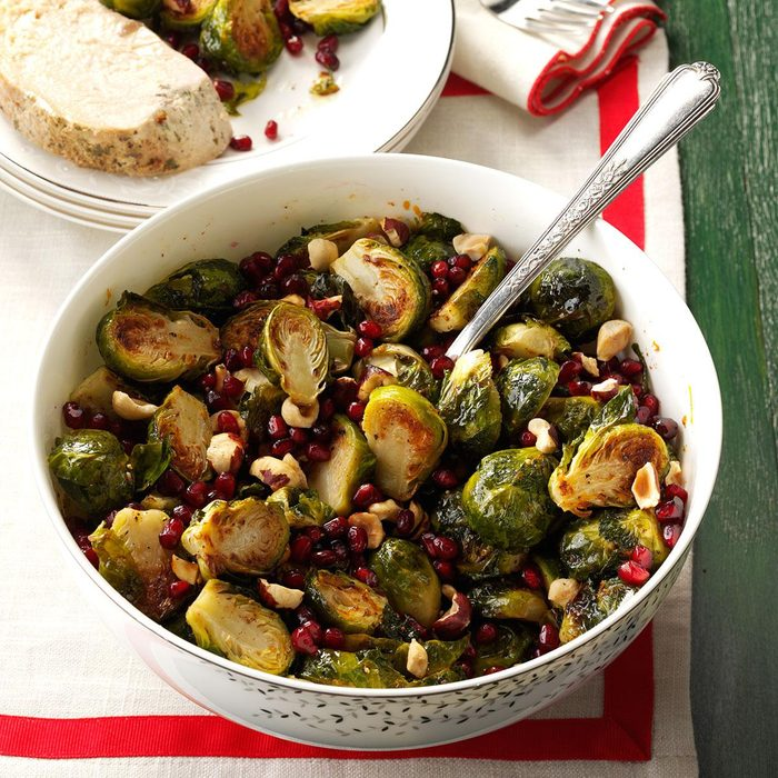 Vegetarian Pomegranate-Hazelnut Roasted Brussels Sprouts
