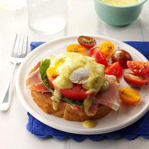 Italian Eggs Benedict with Pesto Hollandaise