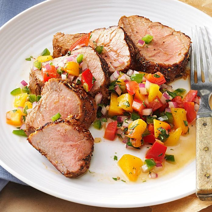 Caribbean-Spiced Pork Tenderloin with Peach Salsa