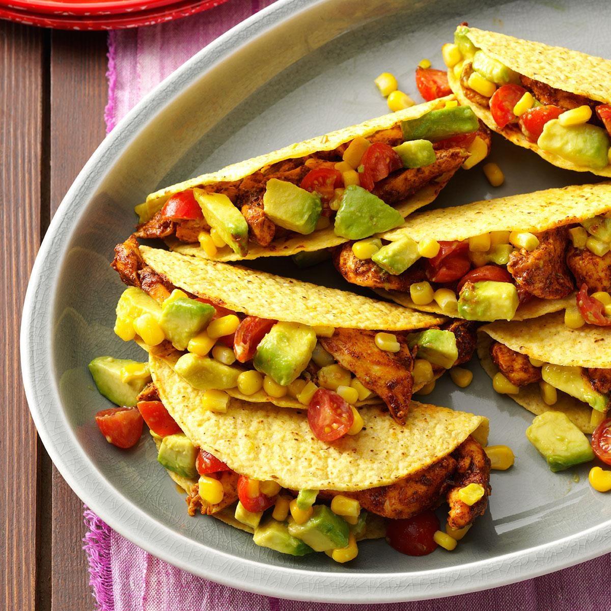 Chicken Tacos with Avocado Salsa