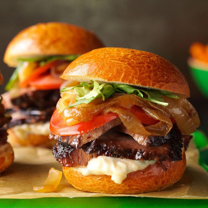 Brisket Sliders with Caramelized Onions
