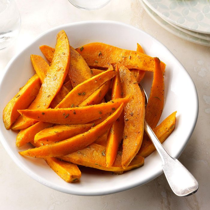 Roasted Sweet Potatoes with Dijon & Rosemary