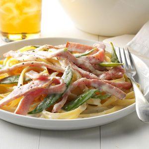Ham and Pea Pasta Alfredo