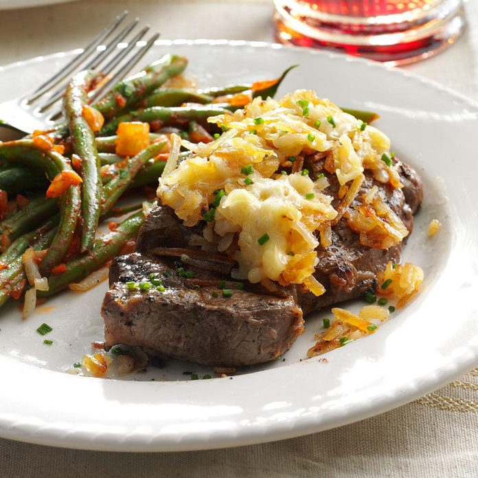 Hash Brown-Topped Steak