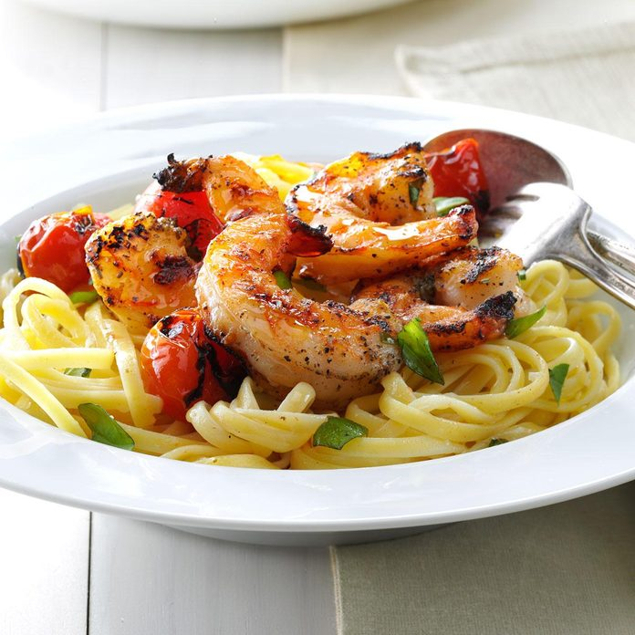 Grilled Shrimp & Tomatoes with Linguine