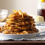 Pumpkin Pancakes with Cinnamon-Apple Topping