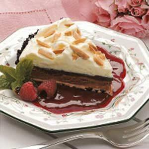 Chocolate Truffle Pie with Raspberry Sauce