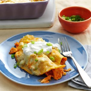 Creamy Buffalo Chicken Enchiladas