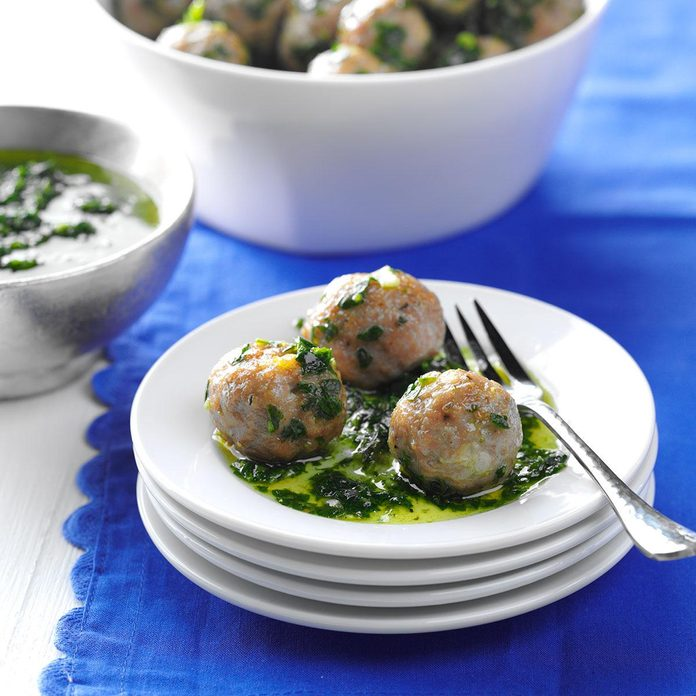 Pork Meatballs with Chimichurri Sauce