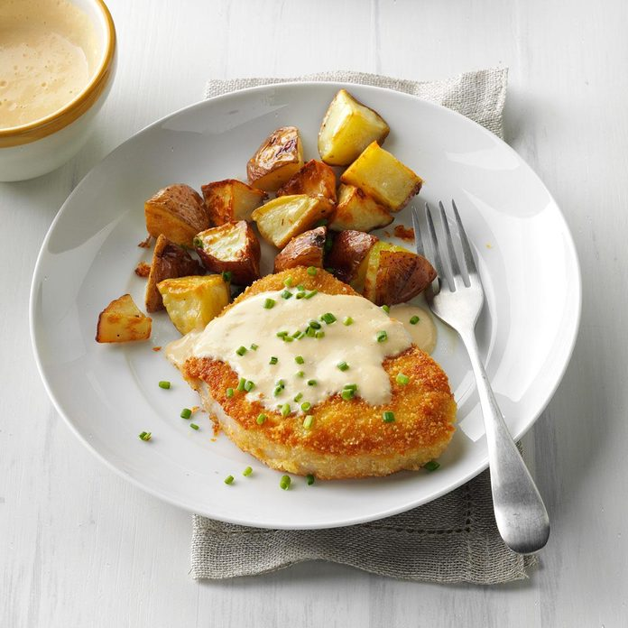 Almond-Crusted Chops with Cider Sauce