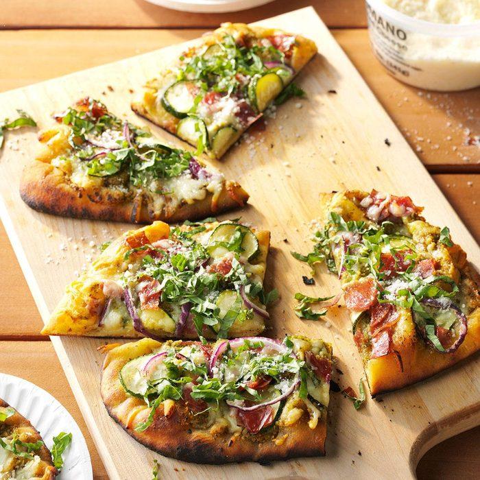 Grilled Zucchini & Pesto Pizza
