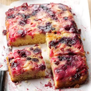 Rhubarb Berry Upside-Down Cake