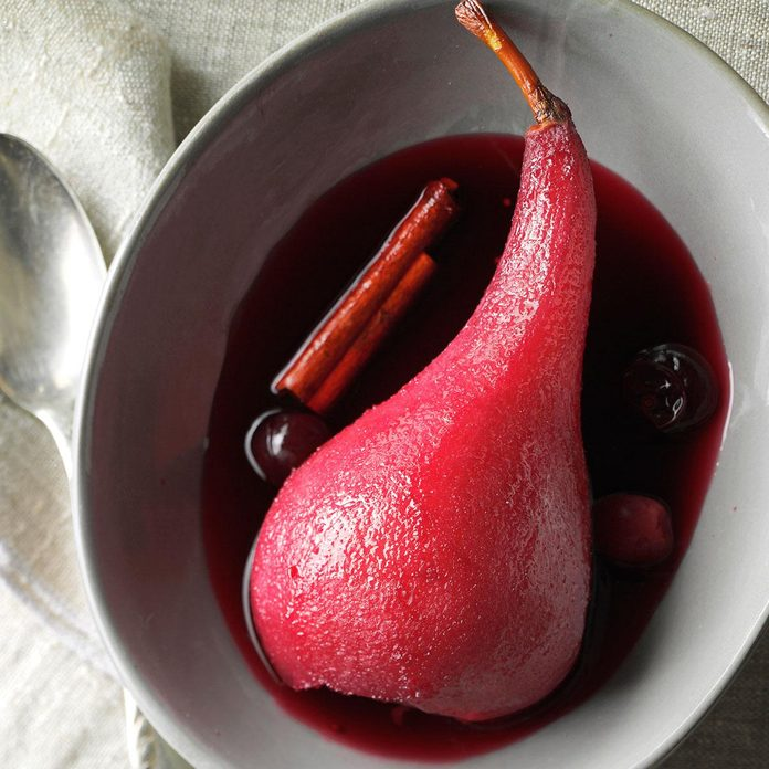 Red Wine & Cranberry Poached Pears