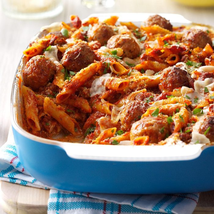 December: Three Cheese Meatball Mostaccioli