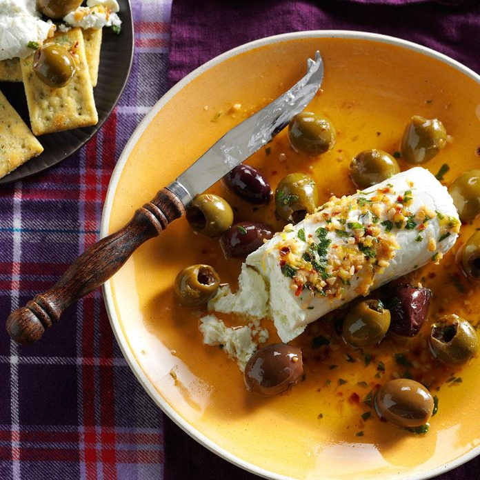 Lemon-Herb Olives with Goat Cheese