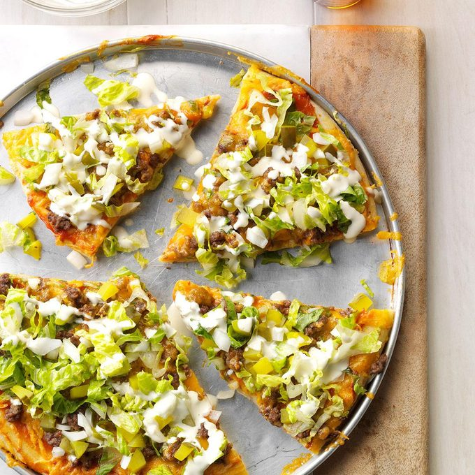 Dill Pickle Hamburger Pizza