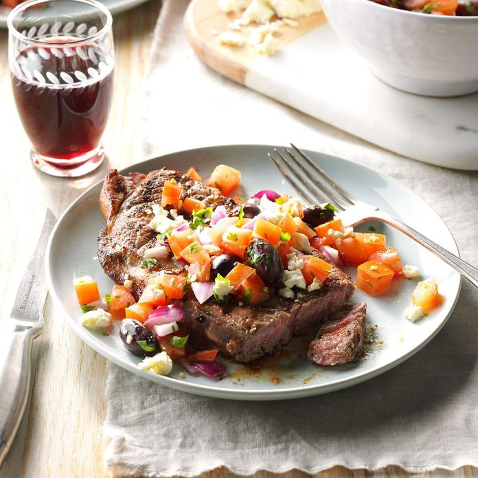 Grilled Ribeyes with Greek Relish